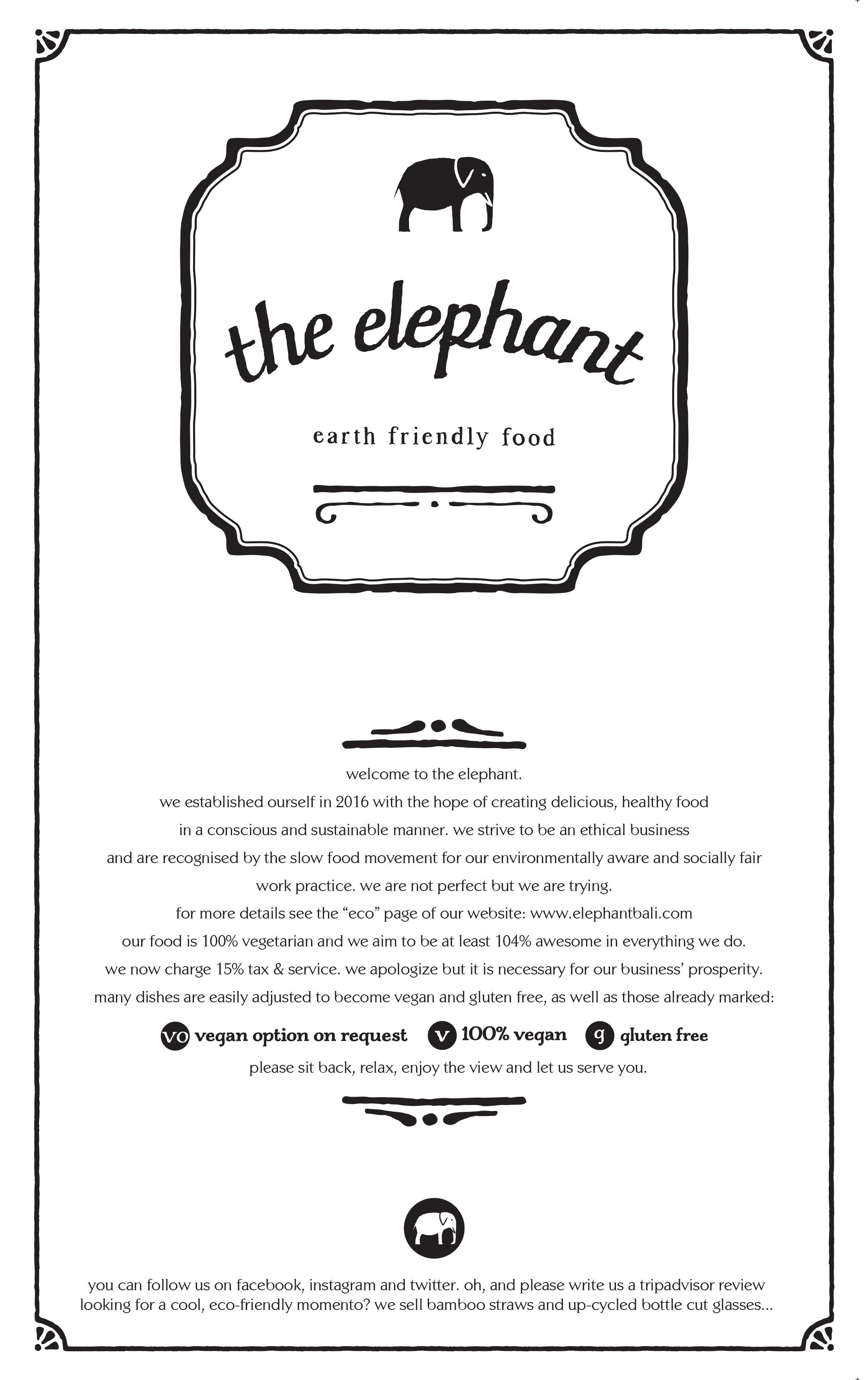 The Elephant Restaurant, Ubud, Bali - Main Menu | The Elephant